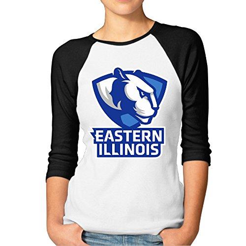 FF Fashion-S Women's Eastern Illinois Panthers University Two-tone Raglan 3/4 Sleeve Baseball Tee Shirts Black