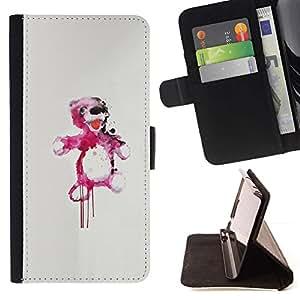 Momo Phone Case / Flip Funda de Cuero Case Cover - Oso de peluche rosado de la salpicadura;;;;;;;; - Apple Iphone 4 / 4S