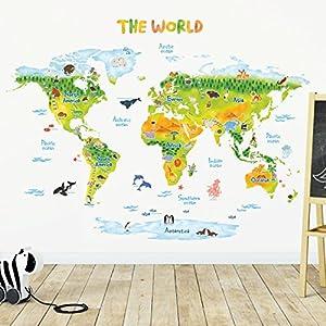 DECOWALL DLT-1715 Geológico Mapamundi Animales Vinilo Pegatinas Decorativas Adhesiva Pared Dormitorio Salón Guardería Habitación Infantiles Niños Bebés (Extra Grande) (English Ver.)