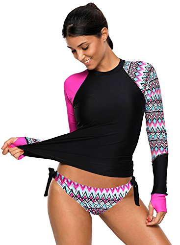 Grace's Secret Women's Two Pieces Tankini Swimsuit Long Sleeve Rash Guard Top Pants Rosy ()