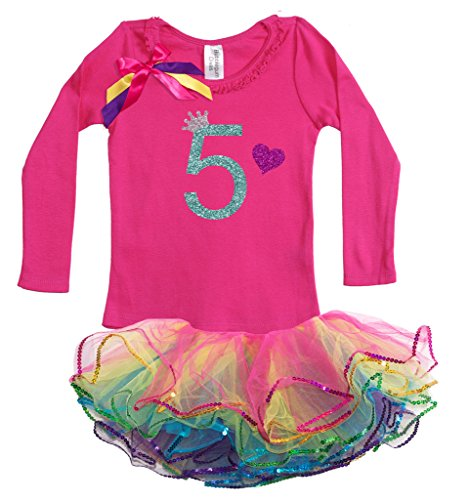 Bubblegum Divas Little Girls' 5th Birthday Princess Shirt Rainbow Tutu Outfit 5-6 (Disco Themed Clothes)