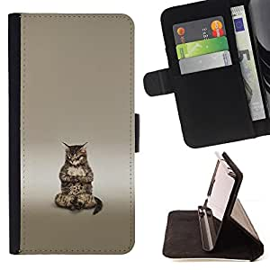 Jordan Colourful Shop - Cute Buddha Cat Meditating For HTC Desire 820 - < Leather Case Absorci????n cubierta de la caja de alto impacto > -