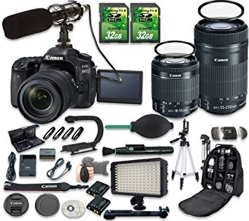 (Canon EOS 80D DSLR Camera Bundle with Canon EF-S 18-55mm f/3.5-5.6 IS STM Lens + Canon EF-S 55-250mm f/4-5.6 IS STM Lens + 2pc 32 GB SD Cards + Microphone + LED Light)
