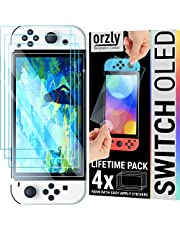 Orzly Glass Screen Protector for Nintendo Switch OLED 2021 Console Accessories (Pack of 4) - Tempered Glass Life time Edition`