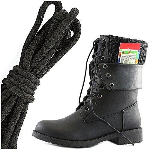 Dailyshoes Dames Militaire Veter Gesp Enkellaarsjes Middenkalf Vouwsluiting Exclusieve Creditcardvak, Effen Zwart Zwart Pu