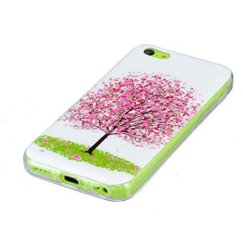 Crisant Rosa kleinen Baum Drucken Design weich Silikon nachtleuchtenden TPU schutzhülle Hülle für Apple iPhone 5C,Premium Handy Tasche Schutz Case Cover Ultra thin Crystal Bumper Schale für Apple iPho