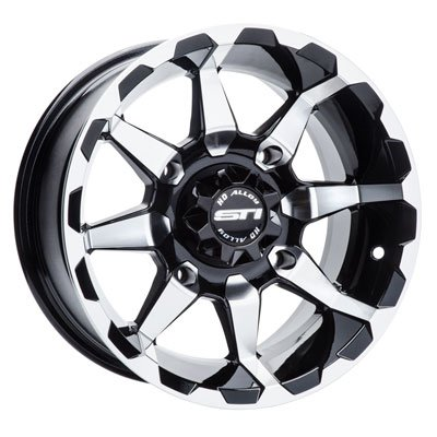 4/156 STI HD6 Alloy Wheel 12x7 4.0 + 3.0 Machined/Black for Polaris SPORTSMAN 450 H.O. 2016-2018