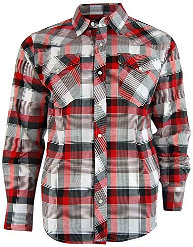 (Casual Country Men's Long Sleeve Classic Plaid Shirt with Easy Open Snap Front (X-Large, Red))