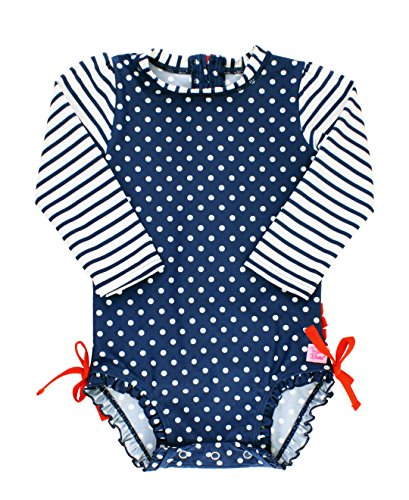 RuffleButts Baby/Toddler Girls Navy Polka Dot One Piece Rash Guard Swimsuit - ()