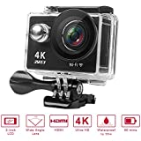 GSPON Wifi Action Camera 4K Ultra HD 12MP 30M Waterproof DV Camcorder 170 Degree Wide Angle Lens Sports Camera 2 Inch LCD Screen with Accessories Kit for Outdoor Cycling Swimming Surfing (Black-2)
