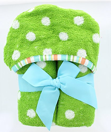 Jay Franco Polka Dots Kids Hooded Bath Towel - 100% Cotton - Soft and Absorbent (Green)