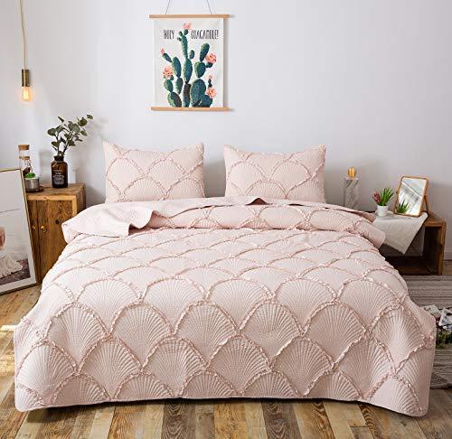 Stripe Conrad - FELIX ANGELA HOME 3-Piece Bedding Quilt Set-Elegant Ruffle Stripe Quilt-Luxurious Brushed Microfiber Solid Color Coverlet Set -Queen Size(88