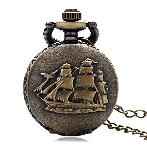 (Fashion Pendant Necklace Jewelry Bronze Sailboat Design Fob Pocket Watch | Gift for Birthday Christmas | Men's Pocket Watches)