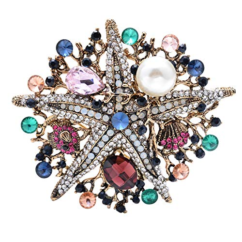 OBONNIE Vintage Crystal Large Starfish Fish Shell Costume Brooch Pin Pendant for Women Wedding Jewelry, ()