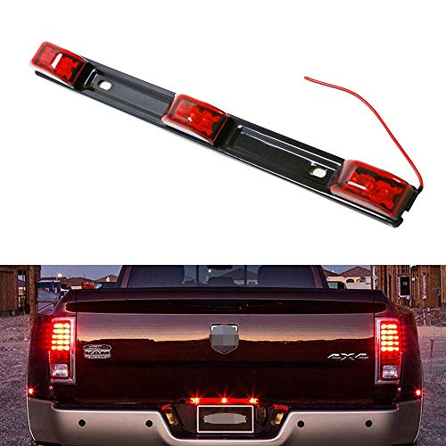 iJDMTOY Red Lens 3-Lamp Truck Rear Tailgate or Trailer LED Light Bar Compatible for Ford F-150 F-250 F-350 F-450 Dodge RAM 1500 2500 3500 Chevy Silverado, GMC Sierra, etc (Metal Sonic 10 Inch Figure)