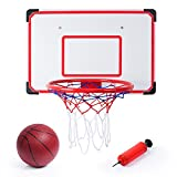 SGILE Pro Wall Mounted Mini Basketball Hoop - 70 x 45cm Shatterproof Backboard with Air Pump and Ball - Adjustable Indoor and Outdoor Hanging Netball Hoop for Door , Fun Gift Set for Kids Boys Children