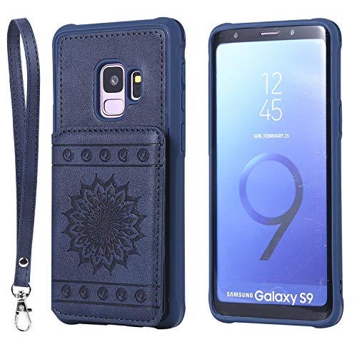 Galaxy S9 Case,DAMONDY Luxury Flower Sunflower Wallet Purse Card Holders Design Cover Soft Shockproof Bumper Flip Leather Kickstand Clasp Wrist Strap Case for Samsung Galaxy S9 2018-Blue