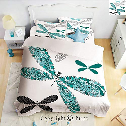 Homenon 4 Piece Bed Sheet Set,2 Pillow Cases,Ornamental Dragonfly Figures with Lace and Damask Effects Artsy Image Decorative,Teal Turquoise Black,King Size,Hide Zipper Closure