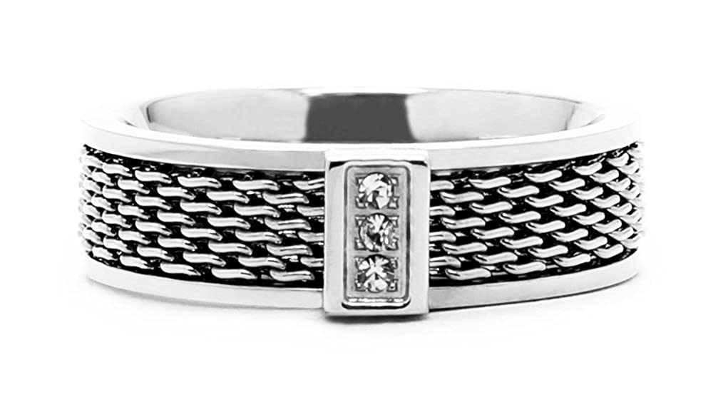 Bijoux Julie Women's Elegant Mesh Inlay and Crystal Ring in High Shine Polished Finish