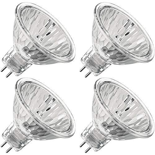 Luxrite LR20250 (4-Pack) 50WMR16/FL EXN 50-Watt Halogen Pin Base Light Bulb, 12V MR16 Halogen Bulb, Glass Cover, Dimmable, 600 Lumens, GU5.3 Bi-Pin Base