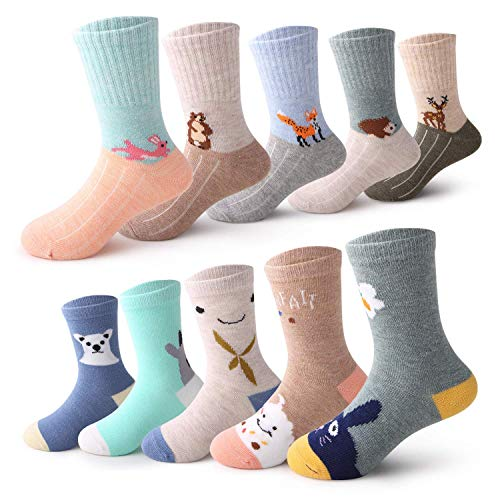 - 10 Pairs Toddler Cartoon Cotton Crew Socks for Kids Boys Girls 1-12 Years(Pattern 5,M:3-5 Years)