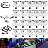 Low Voltage LED Deck Lights Kit Φ1.18'' Waterproof Recessed Deck Lamp Outdoor Yard Garden Pathway Patio Step Stairs Landscape Decor LED In-ground Lighting RGB, Pack of 20, (Fast Transport by DHL)