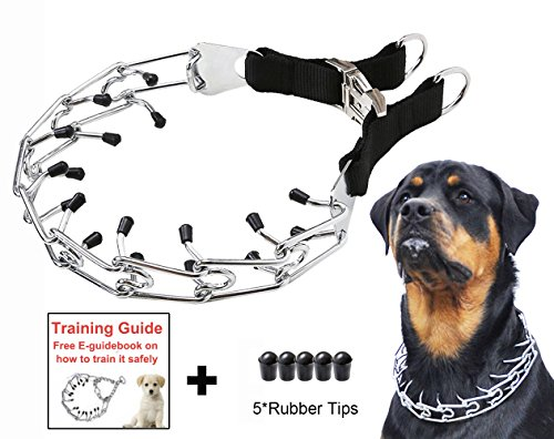 Dog Prong Training Collar, Stainless Steel Choke Pinch Dog Collar with Comfort Tips (Large Prong)