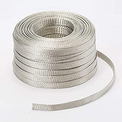 """100/' Ft Flat Braided Tinned Copper Wire 1//8/"""" Wide Ground Strap USA"""