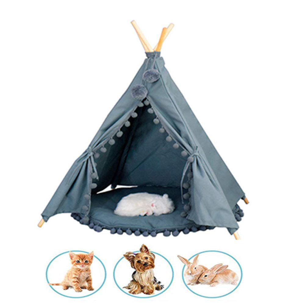 UTOPIAY Elegant Pet Teepee Canvas Dog Teepee Dog Cat Sleeping Tent Pet Indoor Play Tent Dog Puppy House With Cushion Removable And Washable For Pets Small Or Medium,bluee,L