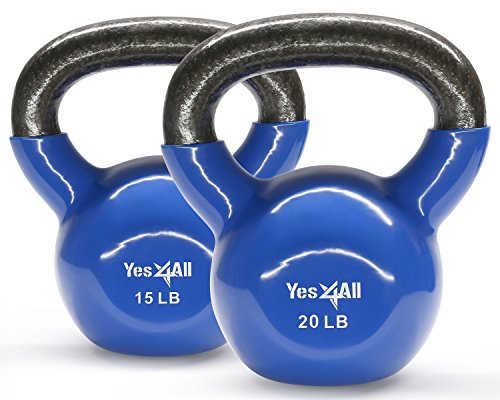 Yes4All Combo Vinyl Coated Kettlebell Weight Sets – Great for Full Body Workout and Strength Training – Vinyl Kettlebells 15 20 lbs For Sale