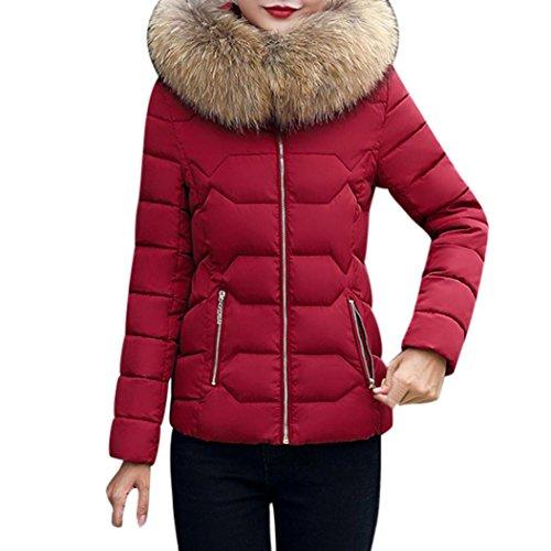 invierno Mujer A1 de Abrigo abrigo de Parka mujer KaloryWee vino Rojo Chaqueta de Plumas cálido Para delgado w8q6qxOzH