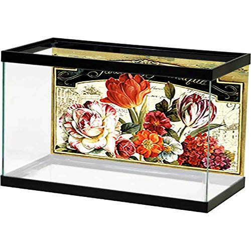 bybyhome Fish Tank Poster Wedding Marriage Invitation. Beautiful Blooming Flowers. Undersea World