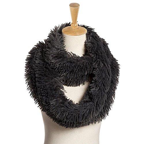 Ikevan Hot Selling Newest Women Girls Warm Soft Pure Color Plush Scarf Wrap Thickened Collar Stole Scarves Autumn Winter 160x20cm (Gray)