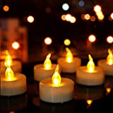 Amber Tea Lights Candles Battery Operated, 24 Pack Flameless Tea Lights Led Flickering for Halloween, Thanksgiving, Christmas Decoration