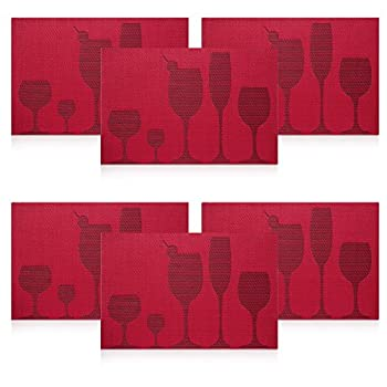 U'artlines TOP Quality Rectangle PVC Dining Room Placemats for Table Heat Insulation Stain-resistant Woven Vinyl Kitchen Placemat Simple Style Eat Mat Vinyl Placemats (6, Red)
