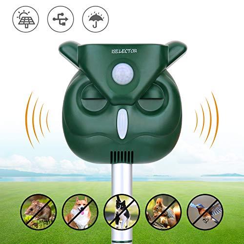 - ISELECTOR Ultrasonic Outdoor Animal Repeller, Solar Pest Waterproof Repellent,Effective and Quick Outdoor Deterrent for Bird, Deer, Cat, Dog, Squirrel, Raccoon, Rabbit - Motion Sensor