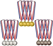 12 Pieces Metal Winner Gold Silver Bronze Award Medals with Red White Blue Neck Ribbon, Olympic Style, 2 Inch