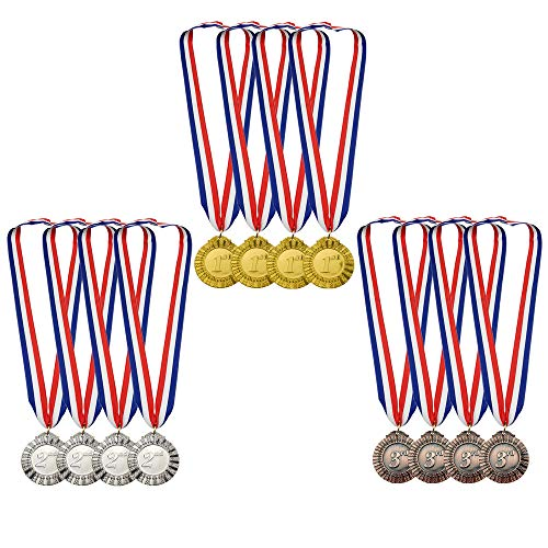- MOMOONNON 12 Pieces Metal Winner Gold Silver Bronze Award Medals Red White Blue Neck Ribbon, Olympic Style, 2 Inch
