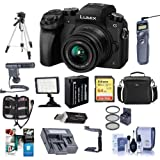 Panasonic Lumix DMC-G7 Mirrorless Micro Four Thirds Camera with 14-42mm Lens, Black - Bundle w/ Camera Case, 64GB SDXC U3 Card, Spare Battery, Tripod, Video Light, Shotgun Mic, Software Pack and More
