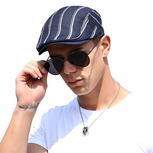FARSEER Newsboy Cap Linen Retro Casual Striped Lattice Hunting Hat for Men Black