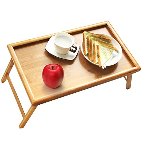 Bed Tray Table with Folding Legs,Serving Breakfast in Bed or Use As a TV Table, Laptop Computer Tray, Snack Tray with 100% Natural Bamboo by Artmeer (Tray Breakfast)