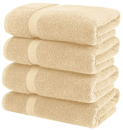White Classic Luxury Bath Towels Large – Cotton Hotel spa Bathroom Towel | 27×54 | 4 Pack | Beige