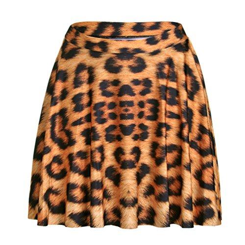 Happy Cool Women's Pattern Printed Digital Casual Flared Skater Bust Skirt Leopard (Leopard Spandex Skirt)