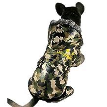 ZUNEA Camo Removable Dog Jumpsuit Hoodie Snowsuit Coat Raincoat Waterproof Padded Warm Pet Outfits Apparel Costume,for Large Medium Dog 5XL