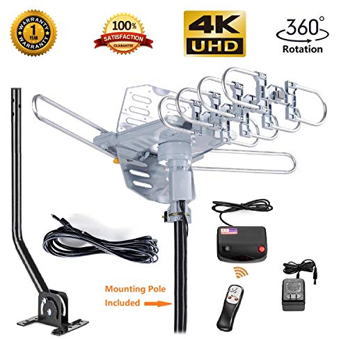 - McDuory Outdoor 150 Miles Digital Antenna 360 Degree Rotation Amplified HDTV Antenna -Support 2 TVs-UHF/VHF/1080P/4K - Infrared Remote - 40ft RG6 Cable and Mounting Pole Included