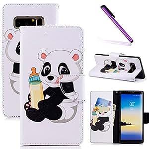 COTDINFOR Samsung Note 8 Funda Precioso Animales Impresión Patrón Suave PU Cuero Cierre Magnético Billetera con Tapa para Tarjetas de Cárcasa para Samsung Galaxy Note 8 Baby Panda BF.