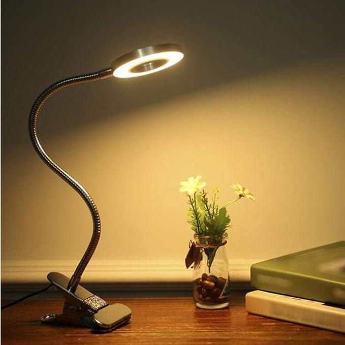 Zshhy lámpara de escritorio con clip led flexible 3000k