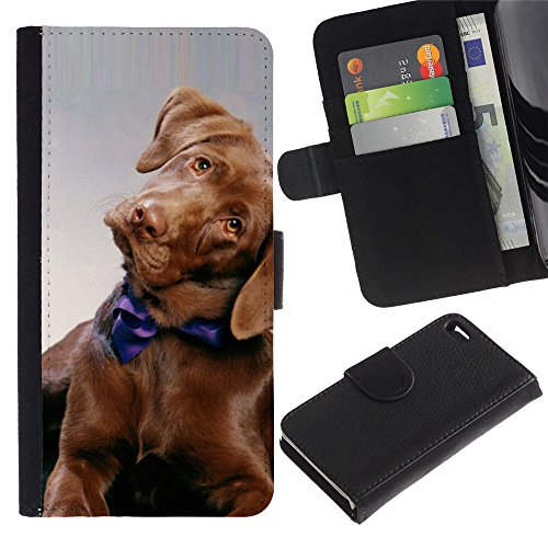 LASTONE PHONE CASE / Luxe Cuir Portefeuille Housse Fente pour Carte Coque Flip Étui de Protection pour Apple Iphone 4 / 4S / Golden Retriever Puppy Dog Canine