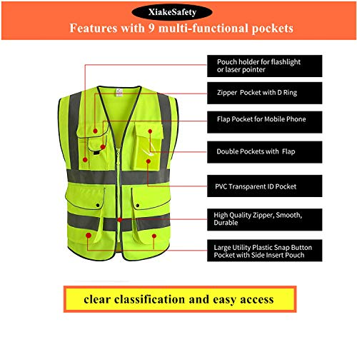 XIAKE SAFETY - Class 2 High Visibility Safety Vest with Pockets and Zipper ANSI/ISEA Standards Yellow (Small) by XIAKE SAFETY (Image #4)