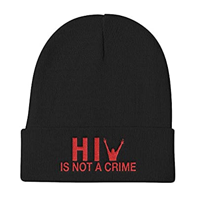 HIV is Not a Crime Hat Knit Beanie Cap - Embroidered One Size (Black)